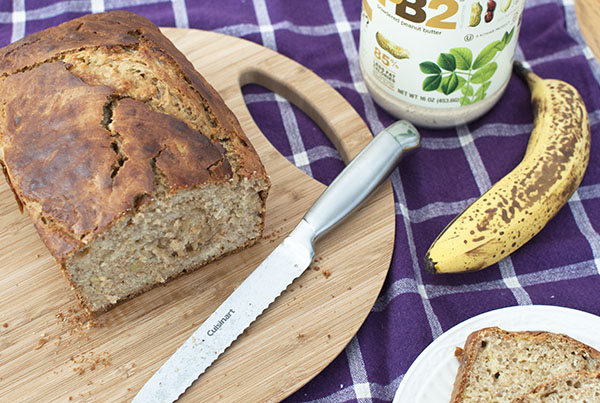 | Healthy Peanut Butter Banana Bread Recipe featured by top US food blogger, Miss Molly Moon