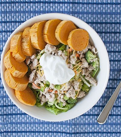 Salad with Ground Turkey + Sweet Potato