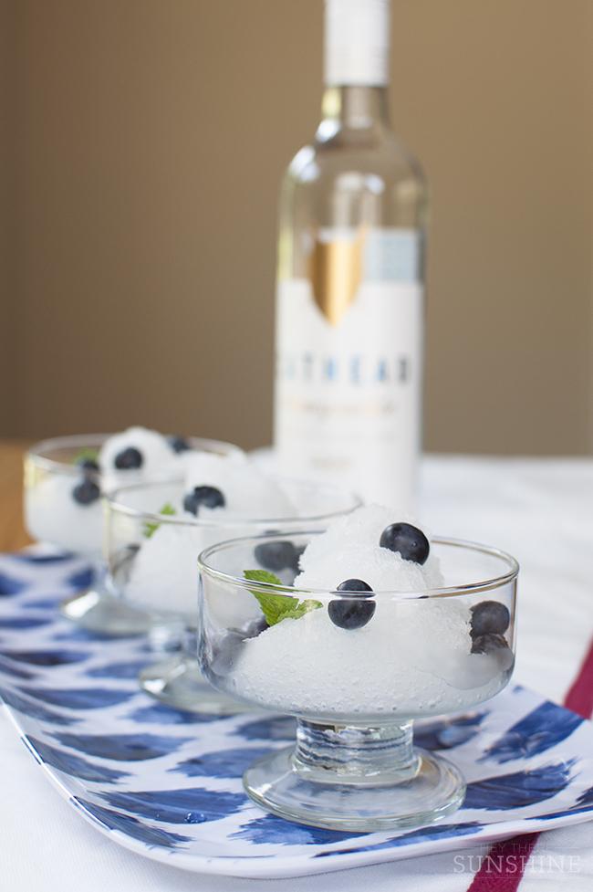 Honeysuckle Lemonade Granita with Blueberries