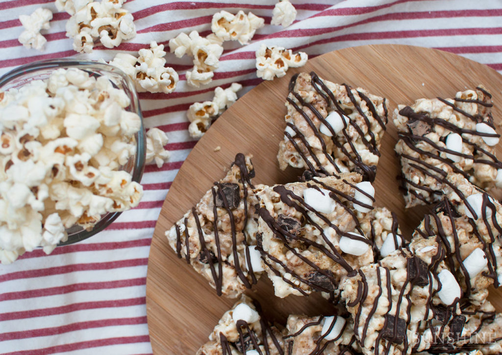 S'mores treats made with popcorn and dark chocolate.