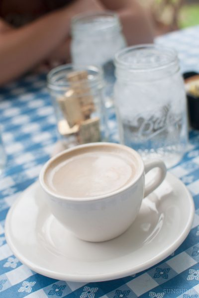 A soy latte at brunch in Athens, GA.