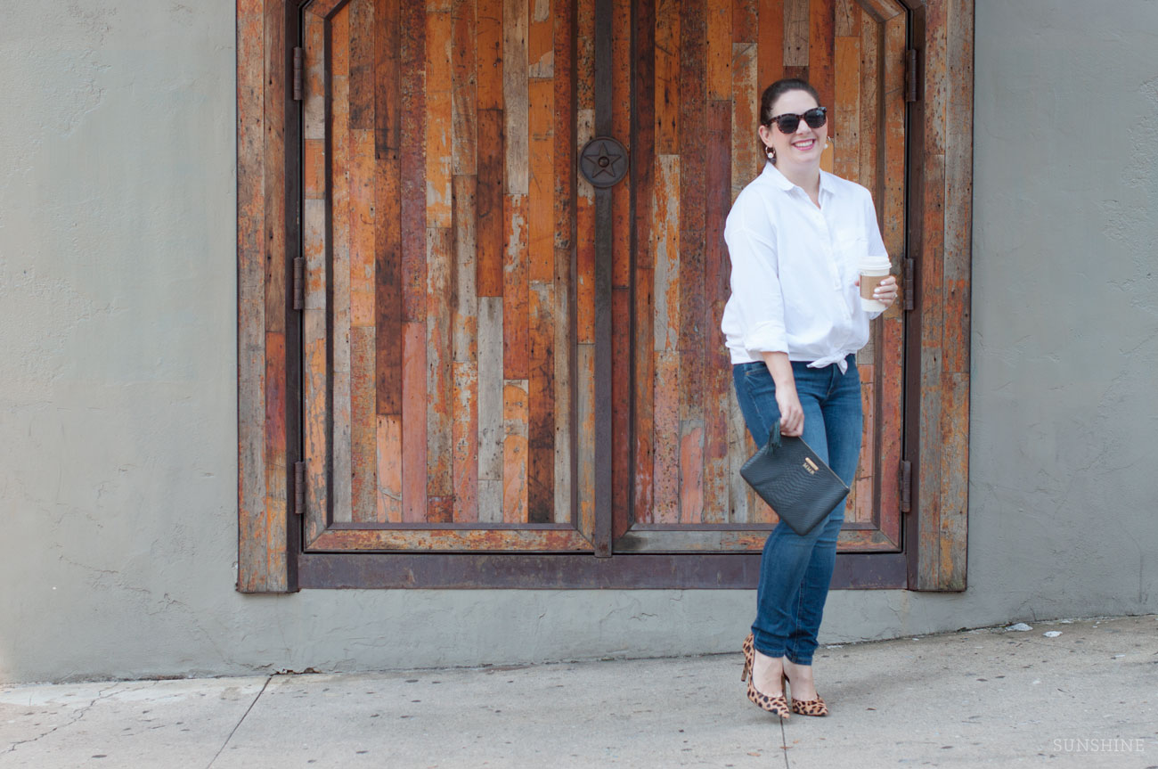 Classic White Button Down with Jeans