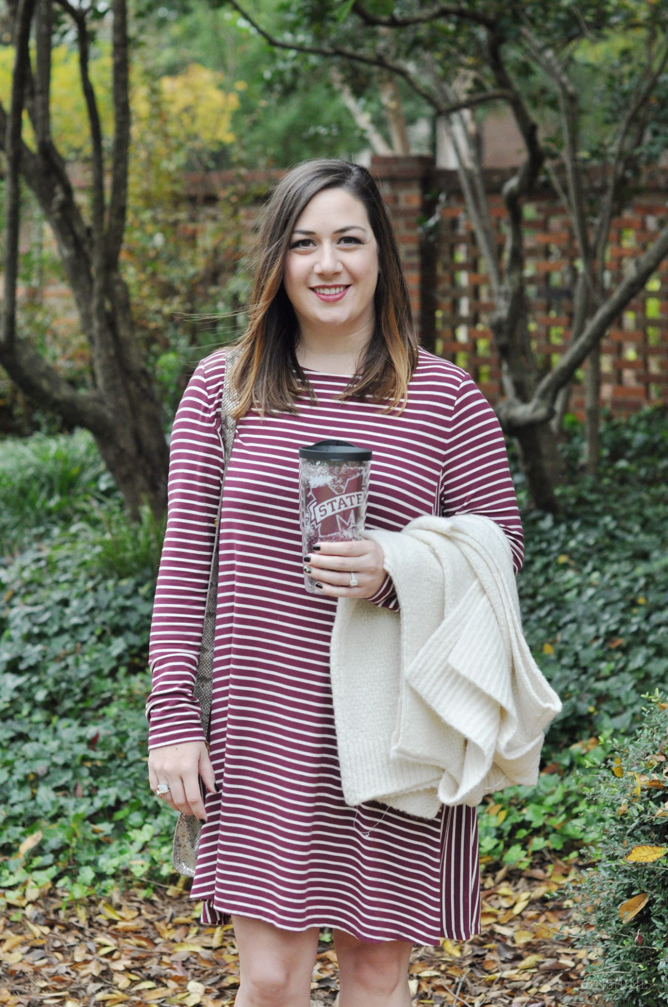 Collegiate Tervis Tumbler, Old Navy Swing Dress, and LOFT Sweater Vest
