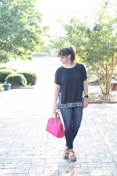 Styling a comfy tee from LOFT and a Vera Bradley Satchel for a Mississippi fish fry.