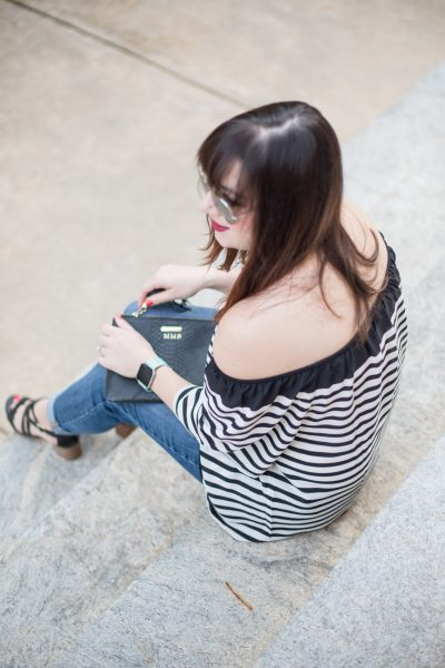 Striped LOFT Top, Black Strappy Sandals, Gap Girlfriend Denim