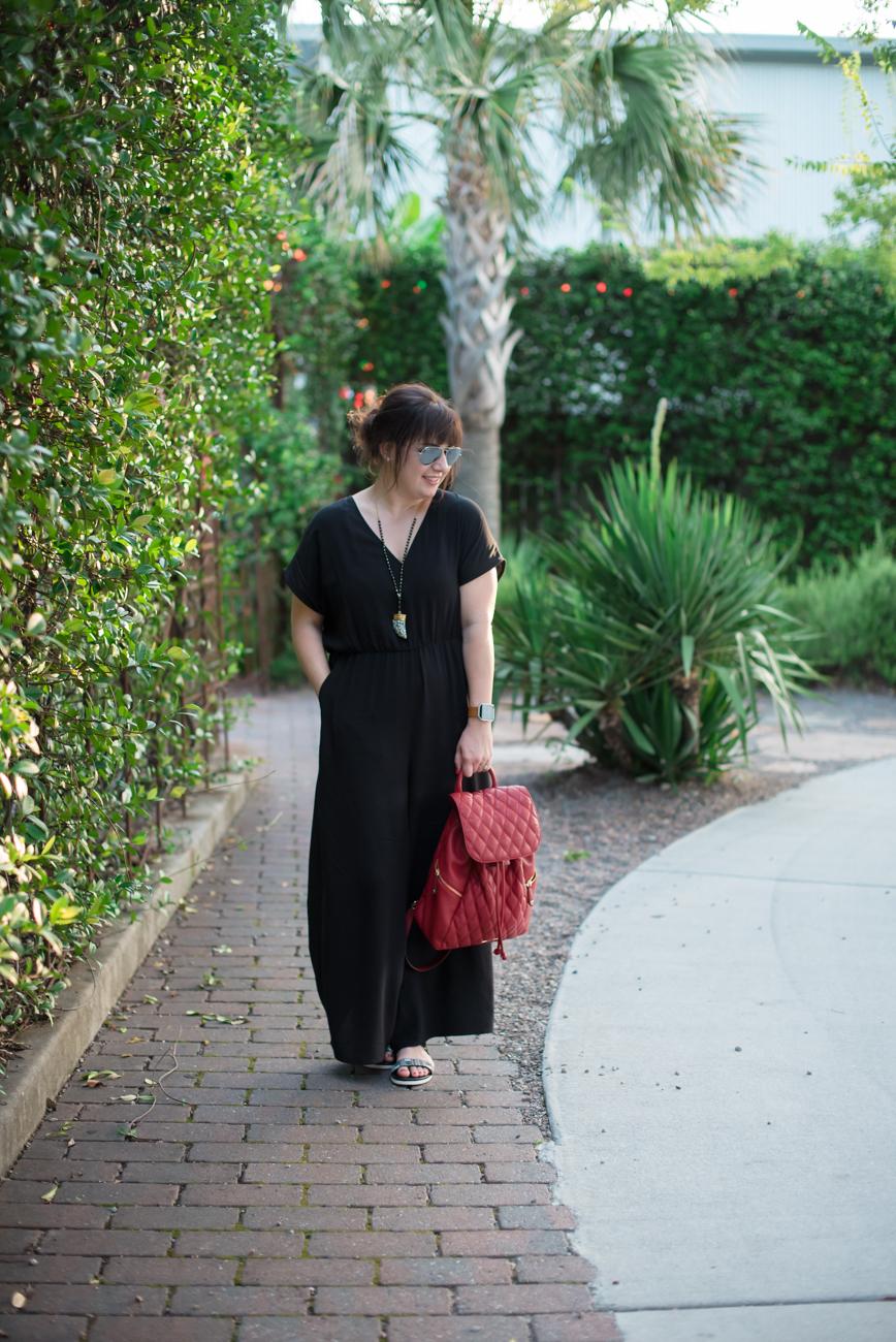Monki Wide Leg Jumpsuit, Vera Bradley Backpack, and Teva Sandals