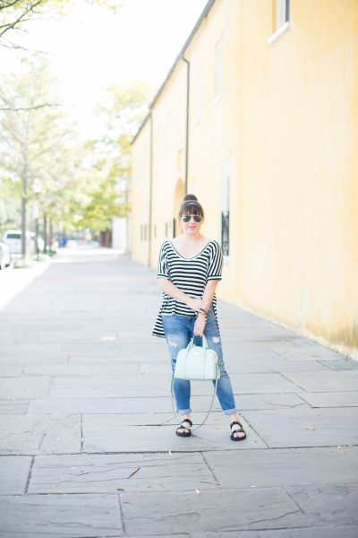 Teva Universal Slide, Gap Denim, Kate Spade Bag, Slouchy Striped Tee