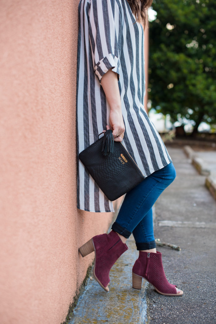 A Transitional Tunic with Peep Toe Booties
