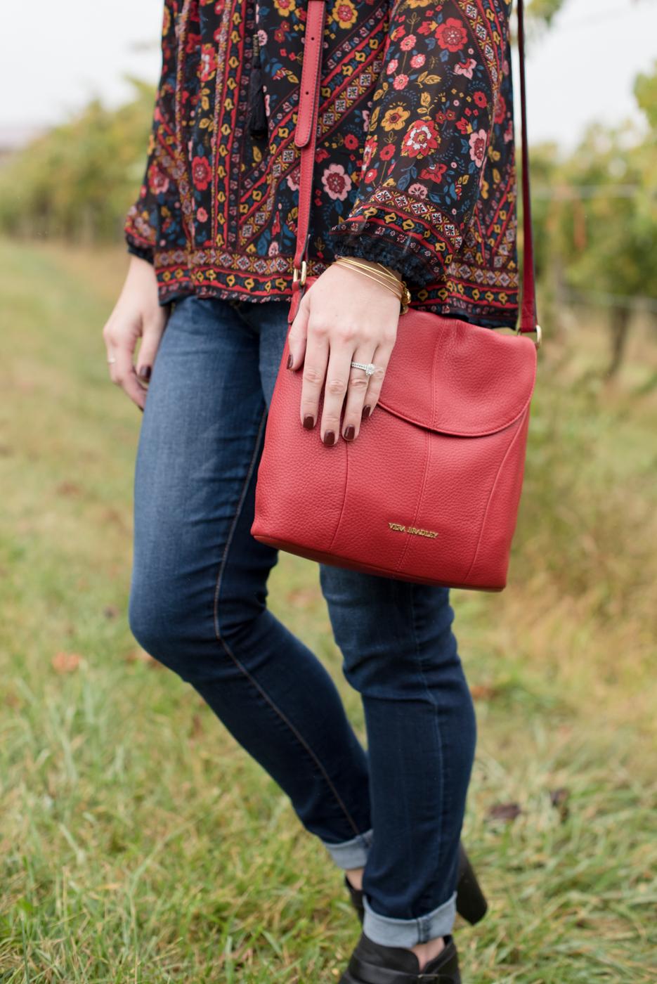 Fall Style, Target Peasant Top, Vera Bradley Crossbody Bag