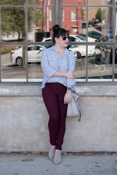 Maroon Denim for Fall, YMI Jeans | @missmollymoon