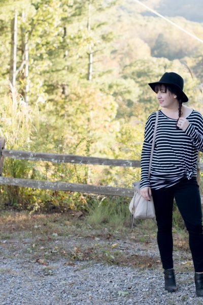 Mud Pie Striped Tunic, Spanx Denim Leggings via @missmollymoon