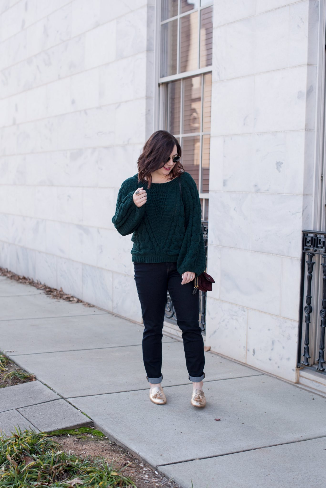 Cute Jewel toned sweaters featured by top US fashion blogger, Miss Molly Moon: image of a woman wearing an Express jewel tones sweater, Land's End jeans, Ray Ban sunglasses, Vera Bradley bag and Chinese Laundry mules