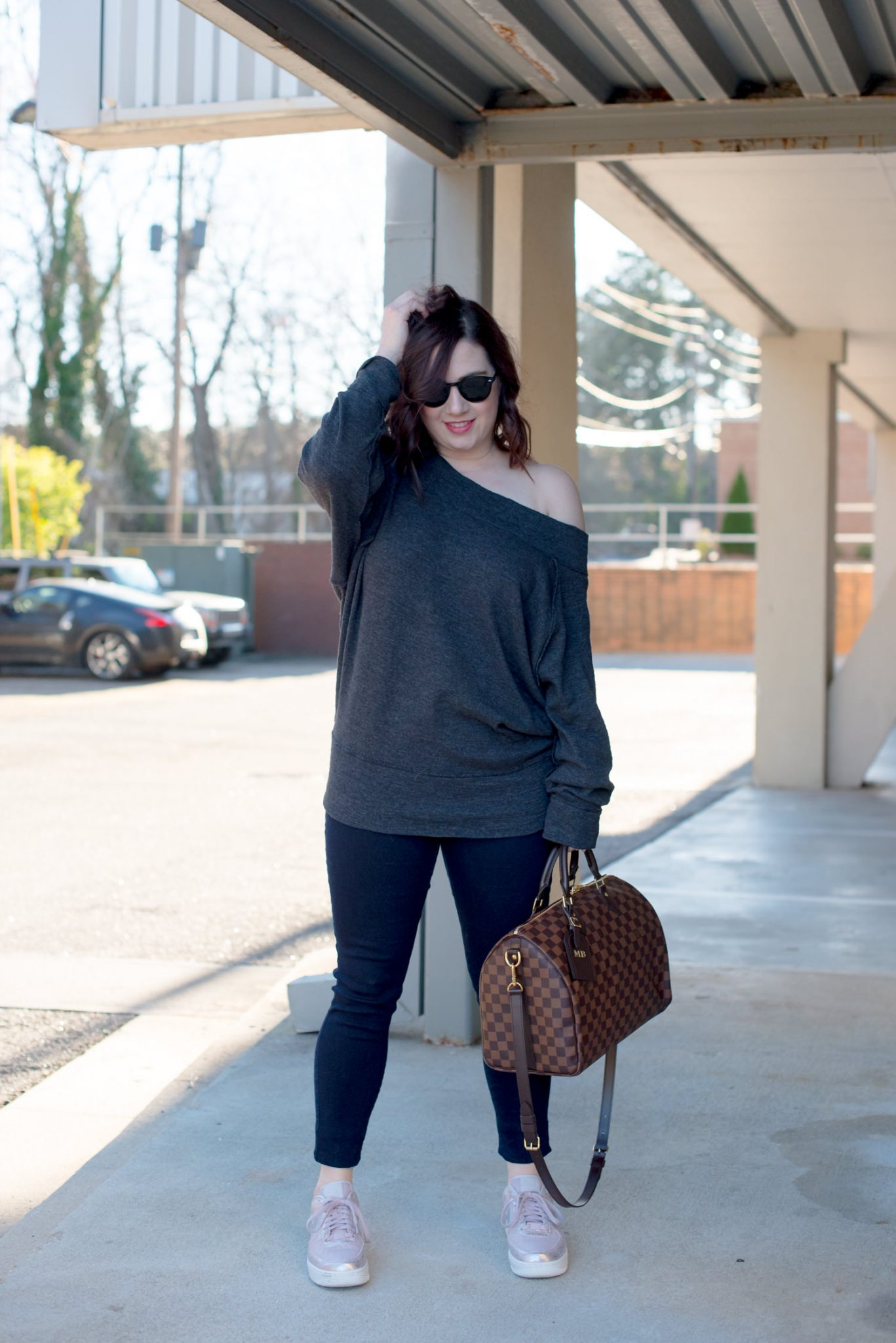 Free People Gray Sweatshirt, Nik Air Force 1 Women // Miss Molly Moon
