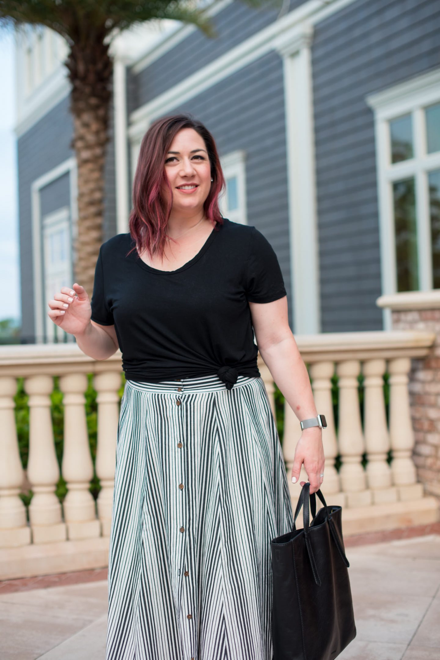 Cocktail Hour on the Coast + Affordable Valentino Rockstud DUPES // Miss Molly Moon | The Best Valentino Rockstud Dupes featured by top Atlanta fashion blogger, Miss Molly Moon: image of a woman wearing a striped maxi skirt, Old Navy Tee, Valentino rocketed dupes, FOSSIL convertible backpack