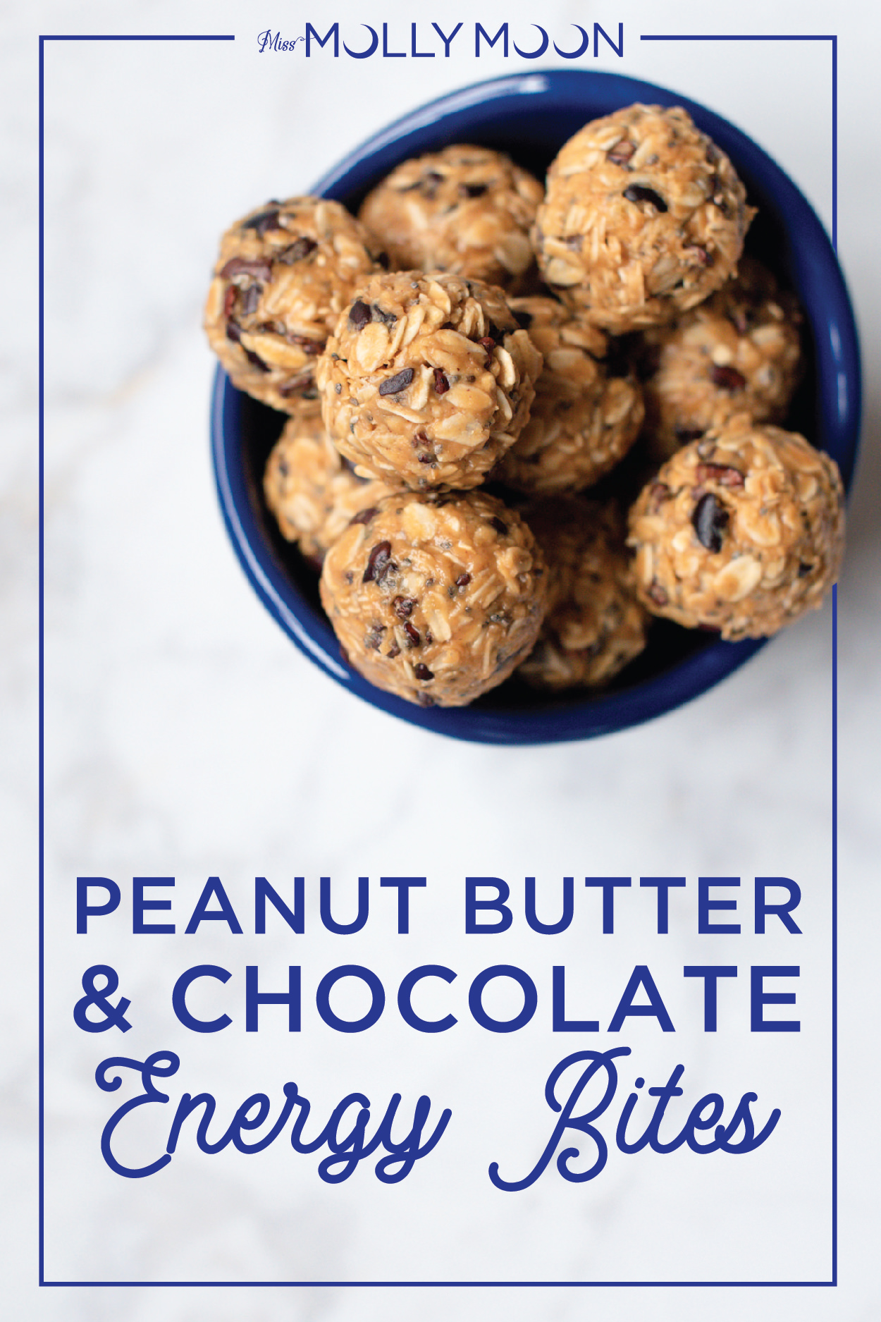 Peanut Butter & Chocolate Energy Bites in a blue bowl.
